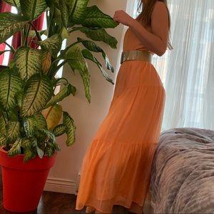NWT ZARA Halter Neck Pink/Peach Maxi Dress
